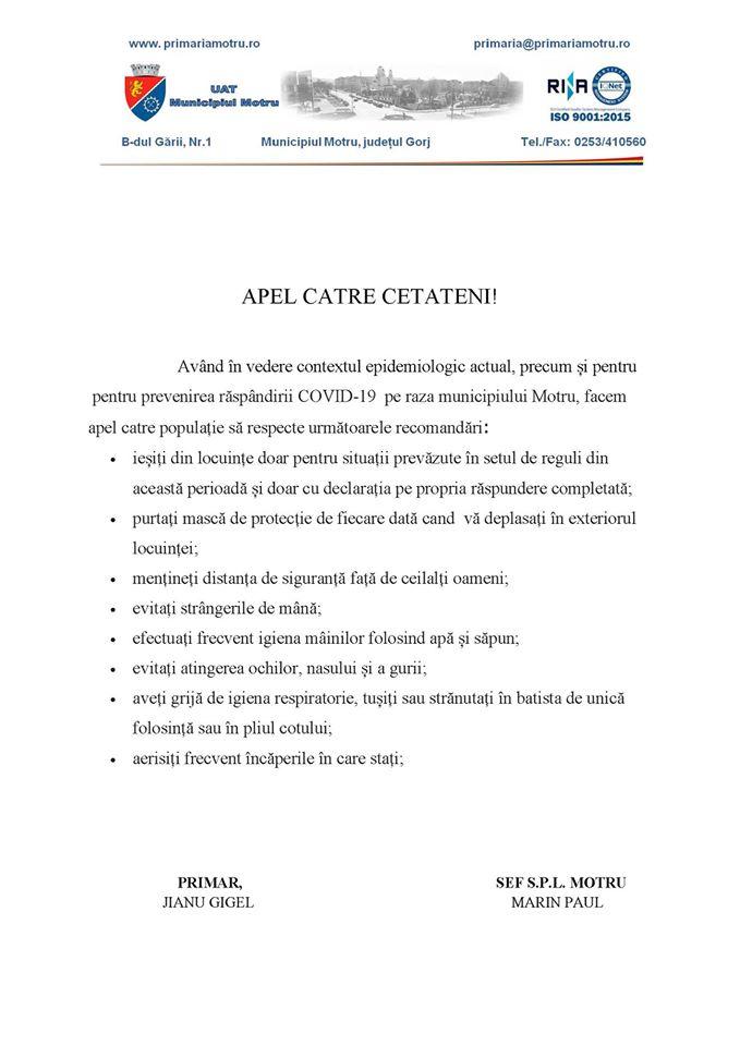 Primaria MOTRU, Apel catre cetateni, COVID-19, recomandari